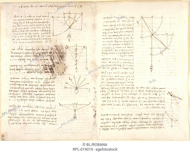 Drawings by Leonardo Da Vinici on on the mechanical powers and forces, percussion, gravity, motion, optics and astronomy