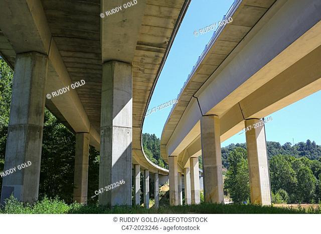 Catalunya, Spain, Girona province, La Selva area, C25, Eix Transversal, viaduct over GI-551 local road from Santa Coloma de Farners to Sant Hilari de Sacalm...