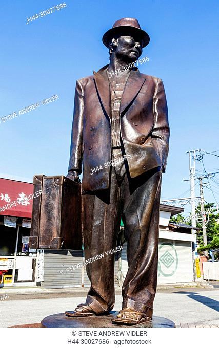 Japan, Hoshu, Tokyo, Katsushika Shibamata, Statue of the Actor Kiyoshi Atsumi aka Tora-san