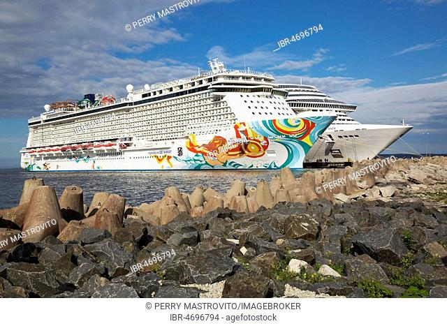 Norwegian Getaway and MSC Fantasia cruise ships moored in the port of Tallinn, Estonia