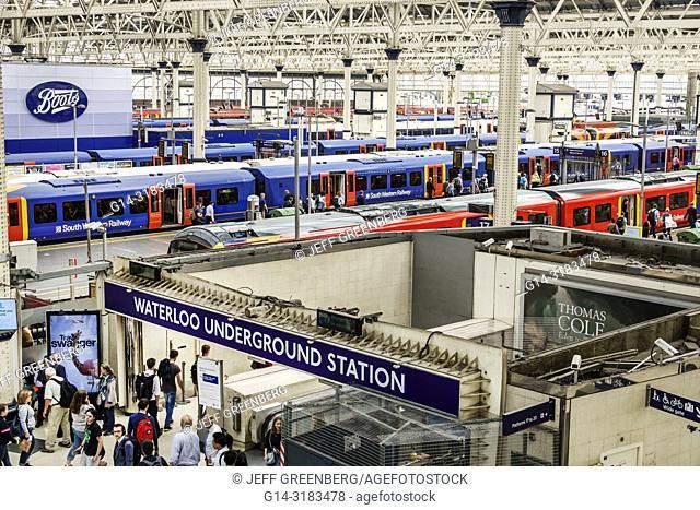 United Kingdom Great Britain England, London, Lambeth South Bank, Waterloo Station, trains, railway, train shed, underground station entrance