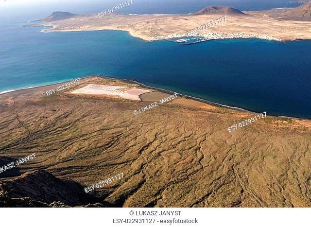 view to La Graciosa Island from Mirador del Rio. Lanzarote, Canary Islands, Spain
