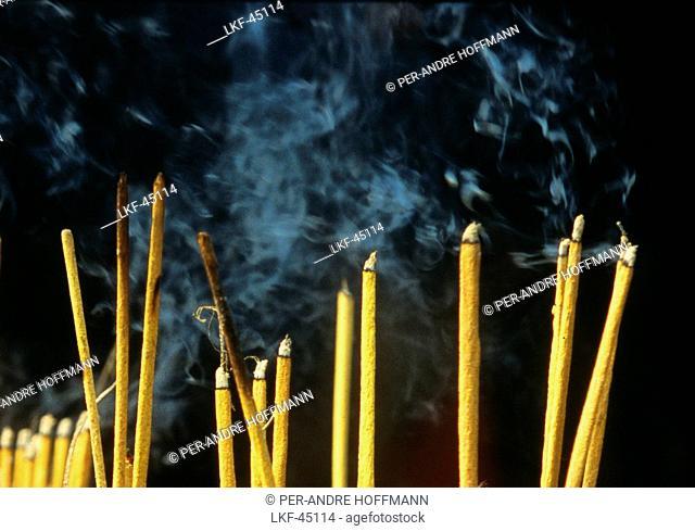 Incense sticks at Tran-Quoc-Pagoda, Hanoi, Vietnam, Asia