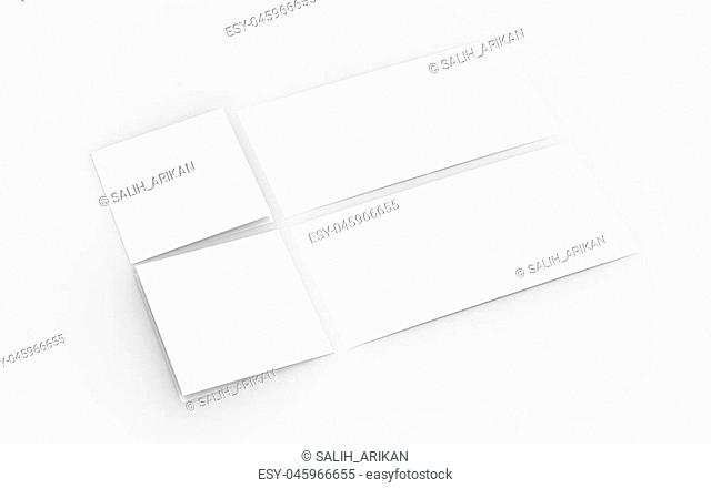 Square bi-fold brochure mock up isolated on soft gray background. 3D illustrating