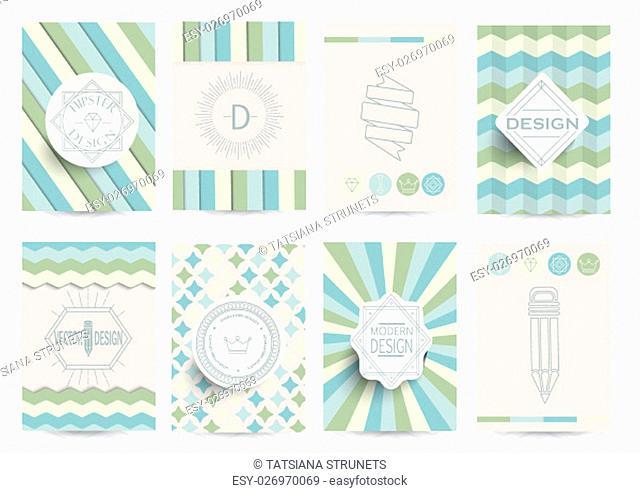 Set of Retro Insignias, Logotypes, brochures in vintage style. Vector design templates
