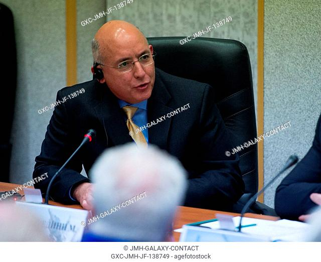 NASA Space Station Program Office Manager Michael T. Suffredini, talks during the State Commission meeting to approve the Soyuz rocket launch of Expedition 39...