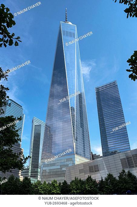View on One World Trade Center, New York, New York State, Lower Manhattan, USA