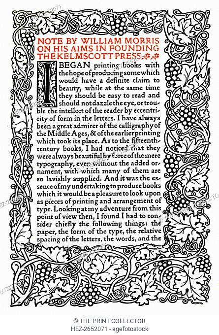 'Kelmscott Press: Page printed in the Golden Type', c.1895, (1914). Illustrated page: 'Note by William Morris on his aims in founding the Kelmscott Press' in...