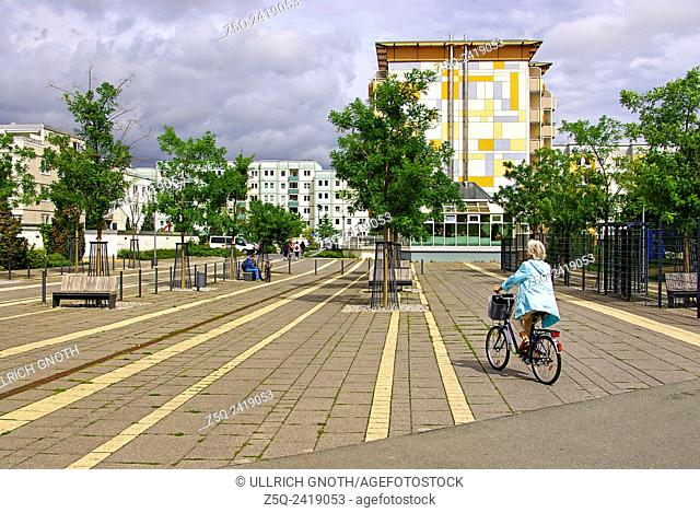 Urban scene of renovated prefabricated residential buildings from the former GDR in Wernigerode, Harz Mountains, Germany, Europe