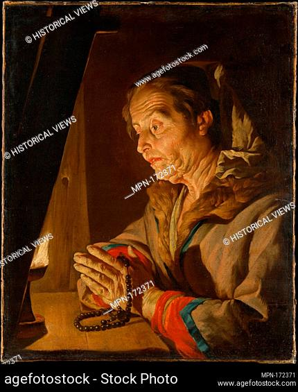 Old Woman Praying. Artist: Matthias Stom (Dutch, Amersfoort?, born ca. 1599-1600, died after 1652 ?Italy); Date: late 1630s or early 1640s; Medium: Oil on...
