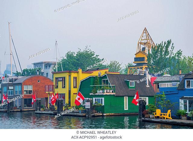 Floating homes, Granville Island, False Creek, Vancouver, British Columbia, Canada