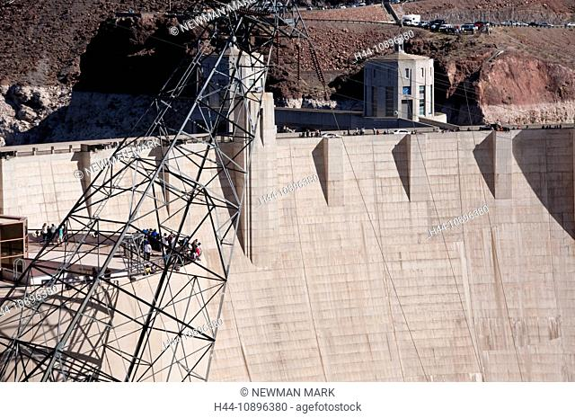 Hoover dam, dam, reservoir dam, power lines, Lake Mead National Recreation Area, Nevada, March, USA, North America, electricity