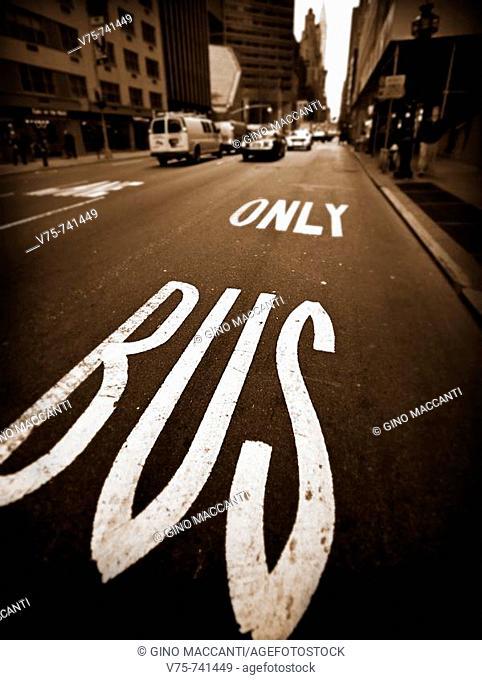 Street signs on floor, Manhattan, NYC, USA
