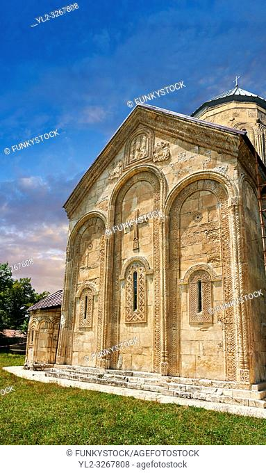 Pictures & images of Nikortsminda ( Nicortsminda ) St Nicholas Georgian Orthodox Cathedral exterior and its Georgian relief sculpture stonework of the west wall