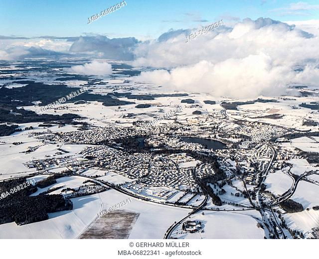Aerial photo of Bad Waldsee in winter