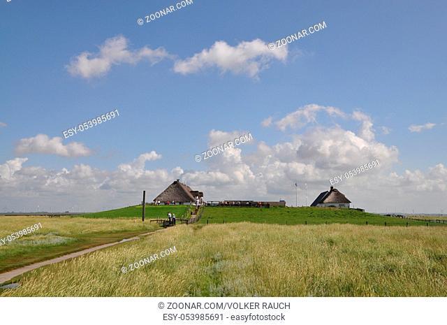 Hamburger Hallig,hallig, halligen, insel, schleswig-holstein, nordsee, marschland, haus, gebäude, warft, wolke,wolken, himmel, gras