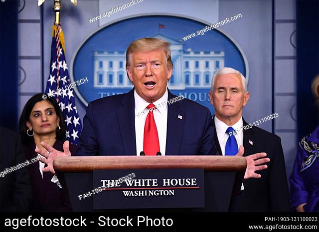 United States President Donald J. Trump delivers remarks on the COVID-19 (Coronavirus) pandemic alongside members of the Coronavirus Task Force in the Brady...