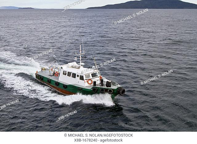 Argentine pilot ship operating in the Beagle Channel from Ushuaia to drop off pilot for all commercial vessels returning from the Antarctic Peninsula in...