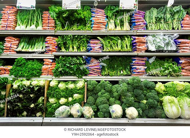 The produce department in a supermarket in New York
