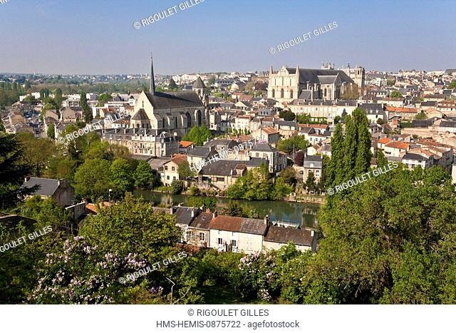 France, Vienne, Poitiers, panorama with the church Sainte Rodagonde and cathedral Saint Pierre