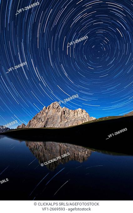 Italy, Piedmont, Cuneo District, Maira Valley - startrail at Rocca la Meja