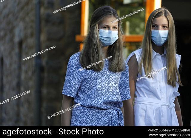 04 August 2021, Spain, Escorca: Princess Leonor (l) and her sister Infanta Sofia visit the Serra de Tramuntana Natural Landscape Interpretation Centre and the...