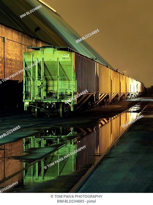 Puddles near trains