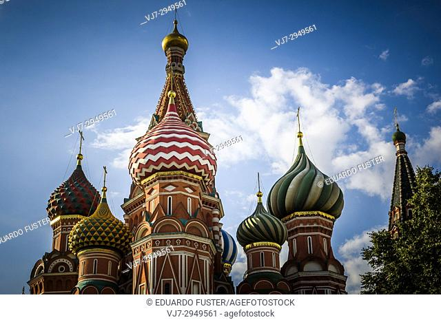 Russia St. Basil's Cathedral in Moscow at day