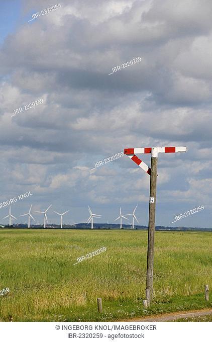 Traffic barrier sign, dam of Hamburger Hallig, North Frisia, Schleswig-Holstein, Germany, Europe