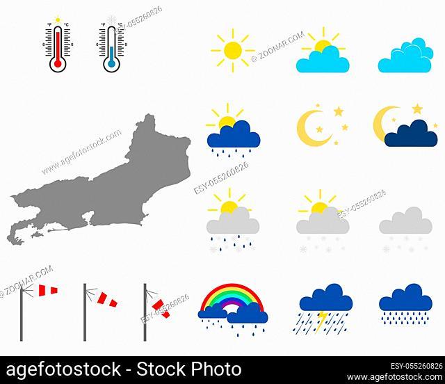 Karte von Rio de Janeiro mit Wettersymbolen - Map of Rio de Janeiro with weather symbols