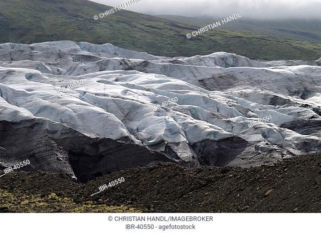 Glacier tongue of the Svinafellsjökull near the Skaftafell National Park Iceland