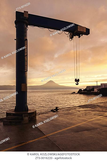 View towards the Pico Island at sunset, Sao Jorge Island, Azores, Portugal