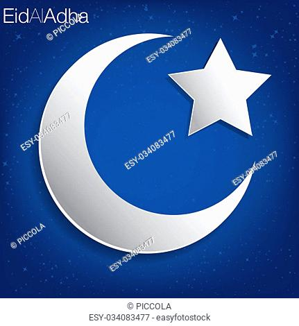 Concave moon and star Eid Al Adha card in vector format