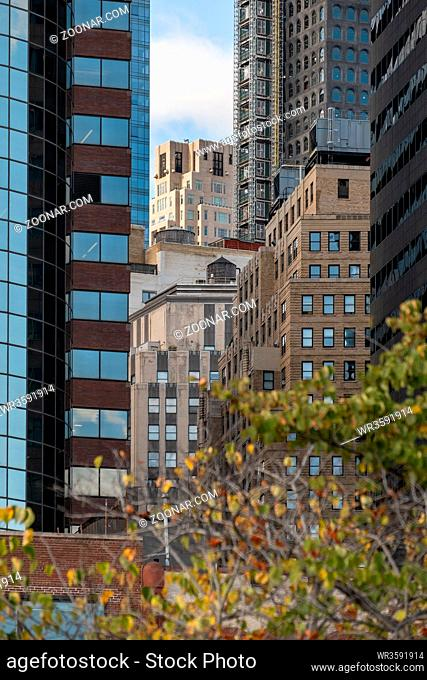 New York City - USA - Oct 18 2019: Pier 15 at the South Street Seaport at daytime in Autumn