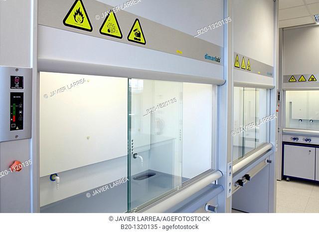 Furniture of a chemistry laboratory, biomedicine, San Sebastian, Donostia, Gipuzkoa, Euskadi, Spain