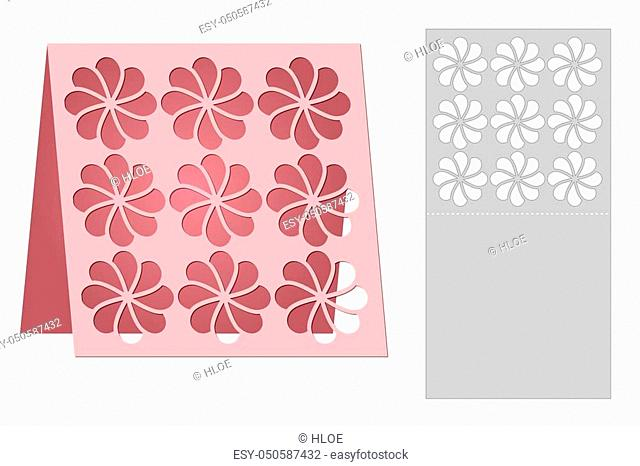 Template cards to cut. Topper. Use for congratulations, invitations, presentations, weddings. Vector illustration