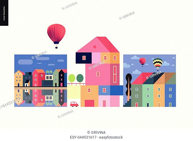 Simple things - houses - flat cartoon vector illustration of colourful countryside house with terrace and trees on it, neighbourhood, row of townhouses