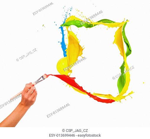 Woman hand painting splashes frame, isolated on white background
