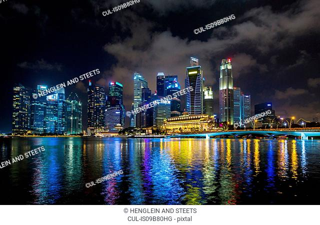 Waterfront skyline at Marina Bay at night, Singapore, South East Asia