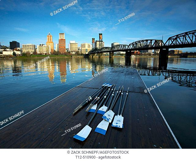 Portland's waterfront with oars on a dock and the Hawthorne Bridge