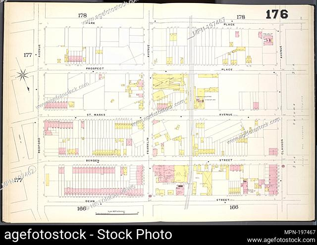 Brooklyn, V. 7, Double Page Plate No. 176 [Map bounded by Park Place, Classon Ave., Dean St., Bedford Ave.]. Sanborn Map Company (Publisher)