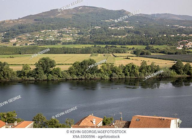 Village and River Minho looking to Portugal, Tui; Galicia; Spain