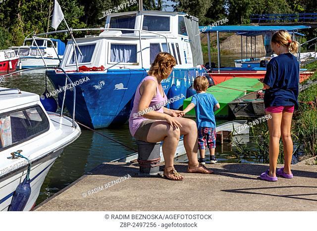 Bata Canal, port Straznice Petrov, South Moravia, Czech Republic, Europe Bata Canal is a navigable canal on the Morava river in the Czech Republic