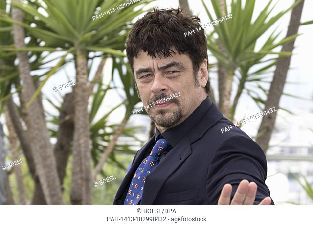Benicio Del Toro poses at the photocall of the 'Un Certain Regard' jury during the 71st Cannes Film Festival at Palais des Festivals in Cannes, France