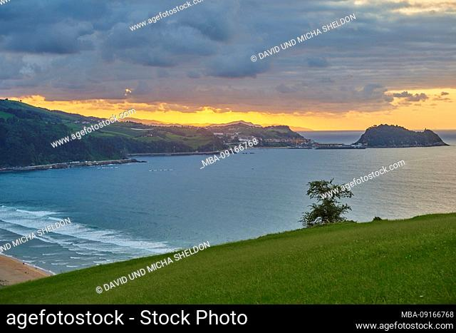 Landscape, Sunset, Coast, Sea, Zarautz, Basque Country, Spain