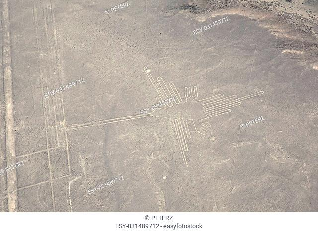 Aerial shot of the Nazca Lines in Nazca, Peru. The lines were created by the Nazca People around 400AD and can only been seen from the air