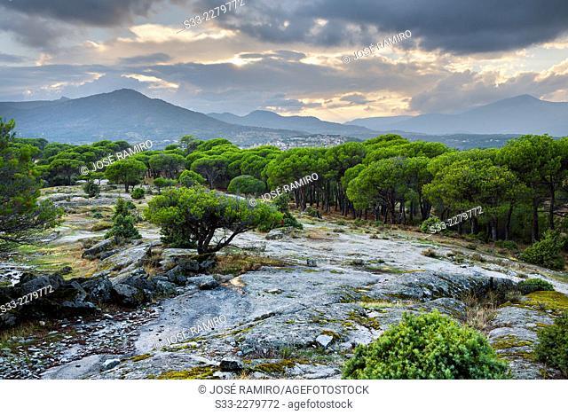 Sierra de Gredos from Muñana cliff in Cadalso de los Vidrios. Madrid. Spain. Europe