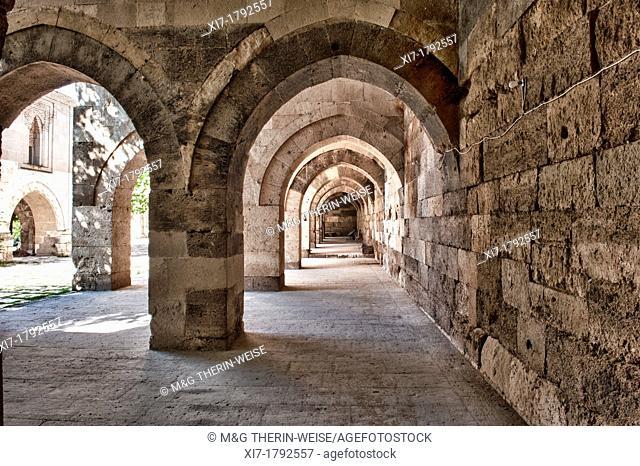 Sultanhani caravanserai on the former silk road, Interior, Sultanhani, Antolia, Turkey