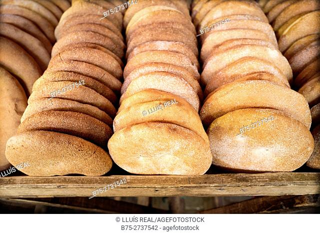 Close-up of Moroccan basic breads. Fez, Morocco