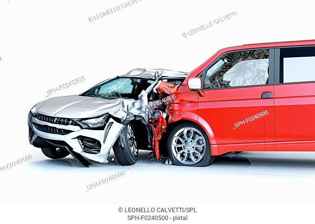 Two cars accident. Crashed cars. A red van against a silver sedan. Big damage. Isolated on white background. Viewed from a side
